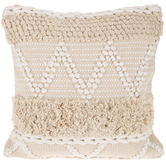 Natural & White Fringe Pillow Cover
