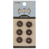 Brown Coconut Round Buttons - 13mm