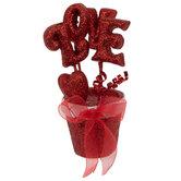 Red Glitter Love Pot