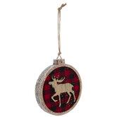 Moose Round Buffalo Check Ornament