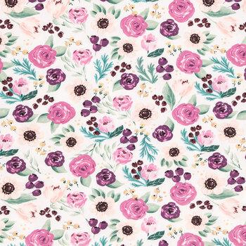 Painted Plum Floral Cotton Fabric
