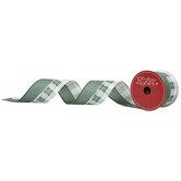 "Green, Cream & Silver Plaid Wired Edge Ribbon - 2 1/2"""