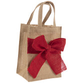 Burlap Tote Bag With Red Bow