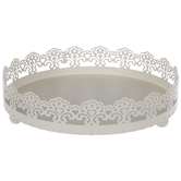 Cream Round Scalloped Metal Tray