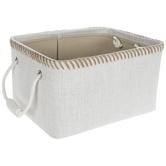 White With Tan Stitching Basket