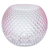 Small Pink Diamond Pattern Glass Vase