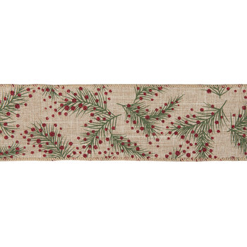 """Red Glitter Berry & Branch Wired Edge Ribbon - 2 1/2"""""""