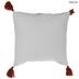 Red & White Geometric Tassel Pillow