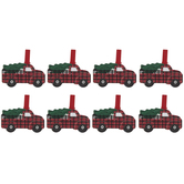 Red Plaid Truck Wood Gift Tag Clips