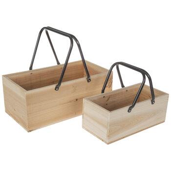 Rectangular Wood Box With Handles Set