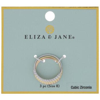 Tri-Tone Cubic Zirconia Rings - Size 8