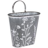 Whitewash Floral Metal Wall Bucket
