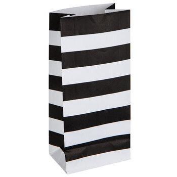 Mini Black & White Striped Paper Sacks