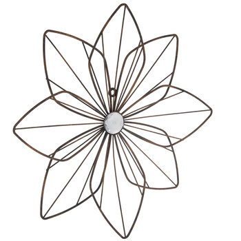 Distressed Gold Metal Flower Wall Decor