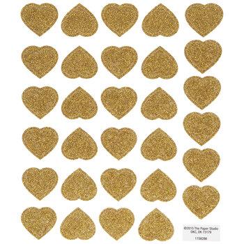 Gold Glitter Heart Stickers