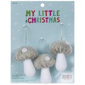 Mini Gray & White Polka Dot Mushroom Ornaments