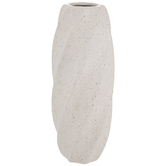 White & Black Speckled Twisted Vase