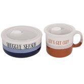 Striped Soup Bowl & Mug With Lids