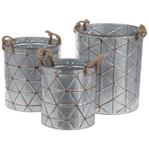 Geometric Pattern Galvanized Metal Container Set