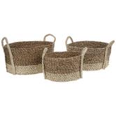 Natural & Brown Round Woven Basket Set