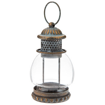 Antique Turquoise & Bronze Metal Lantern