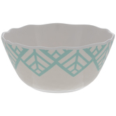 White & Turquoise Palm Leaf Cereal Bowl