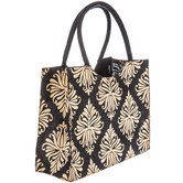 Black & Gold Damask Jute Tote Bag