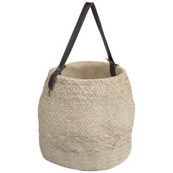 Basket Weave Cement Flower Pot With Handle