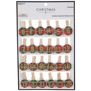 Plaid Christmas Countdown Clothespins