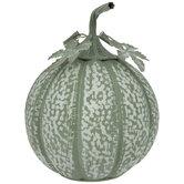 Green & White Distressed Metal Pumpkin