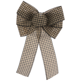 Taupe & Black Buffalo Check Bow