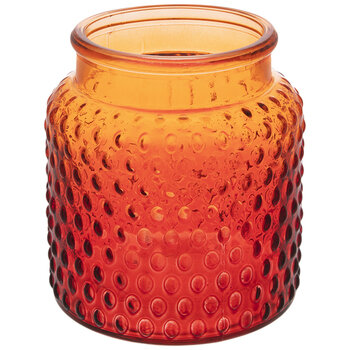 Dark Orange Hobnail Glass Vase