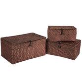 Dark Brown Rectangle Basket Set