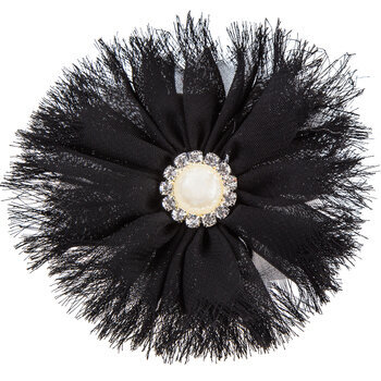 Fabric Flower Hair Clip with Pearl