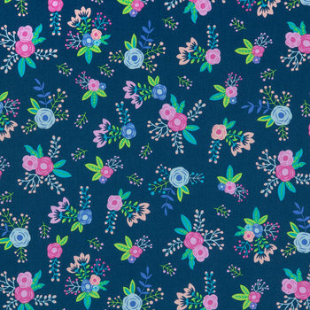 Navy Floral Apparel Fabric