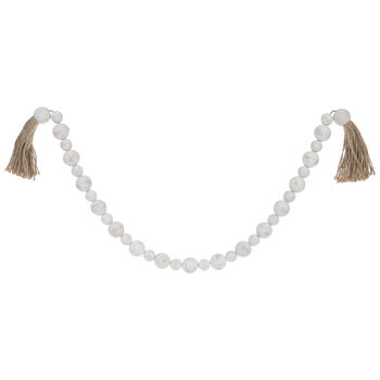 Distressed White Beaded Garland Stand With Tassels
