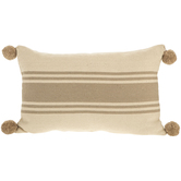 Beige Striped Pom Pillow Cover