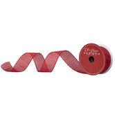 "Red Metallic Wired Edge Sheer Ribbon - 1 1/2"""