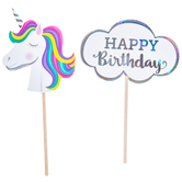Unicorn Birthday Cupcake Toppers