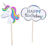 Unicorn Birthday Cupcake Toppers