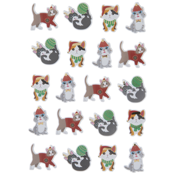 Christmas Cats Puffy Stickers