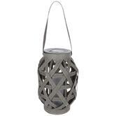 Light Up Gray Basket Lantern