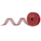 """Gold & Red Glitter Wired Edge Ribbon - 2 1/2"""""""