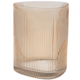 Coral Pink Ridged Triangle Glass Vase
