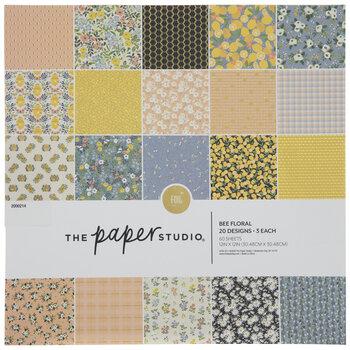 "Bee Floral Foil Paper Pack - 12"" x 12"""