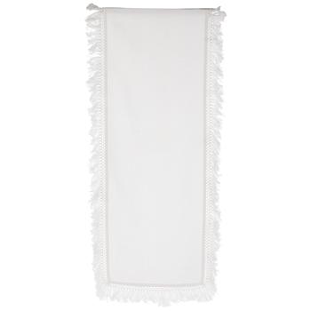 White Fabric Fringe Table Runner