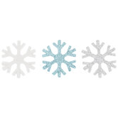 Blue, Silver & White Glitter Snowflakes Stickers