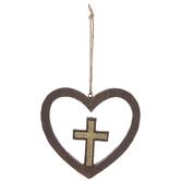 Textured Wood Wall Cross In Heart