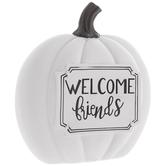 White Welcome Friends Pumpkin