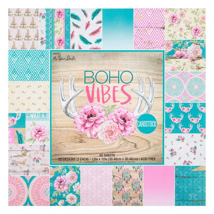 12x12 Scrapbook Paper Studio Cardstock Boho Vibes Chic Rustic Feathers Dream 40